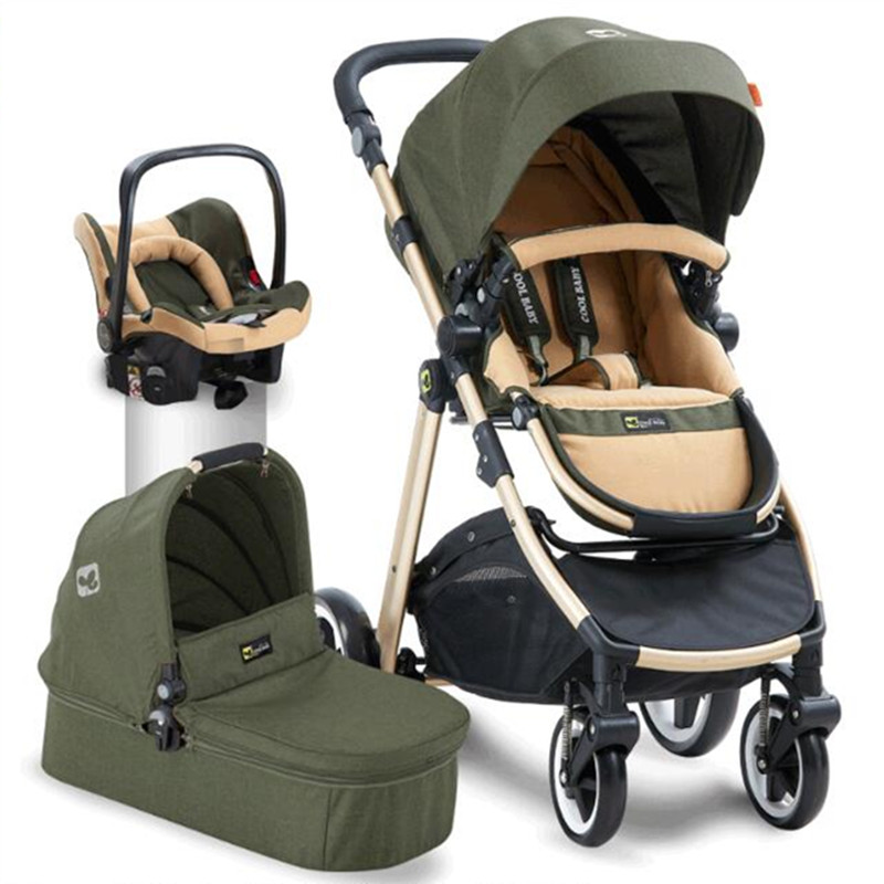 Baby stroller 3 in 1 high landscape can sit can recline can fold 0-3 years old two-way newborn baby trolley