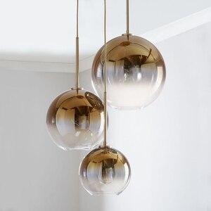 Image 3 - Conjunto de 3 lustre de teto, luminária suspensa moderna para teto, bolas de vidro, prata e dourado