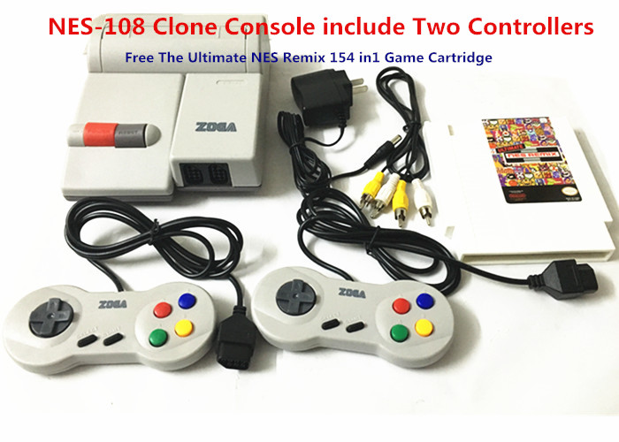 for NES-108 Clone Console include Two Controllers, Free The Ultimate Remix 154 in1 Game Cartridge, 400 in 1 198 in 1 2pcs 8 bit fc nes game cartridge classical game cards