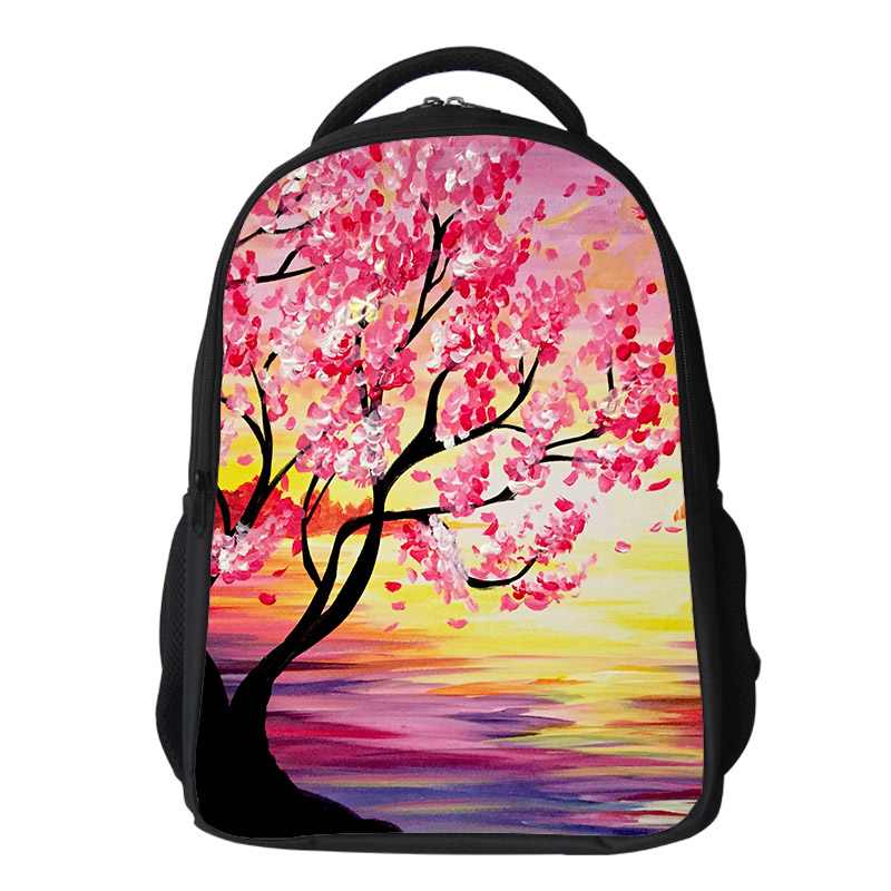 Girls cherry blossom Backpack Kids Oxford Personized School Bag Japanese Lanscape Painting Rucksack Casual Daypack for teenagers (2)