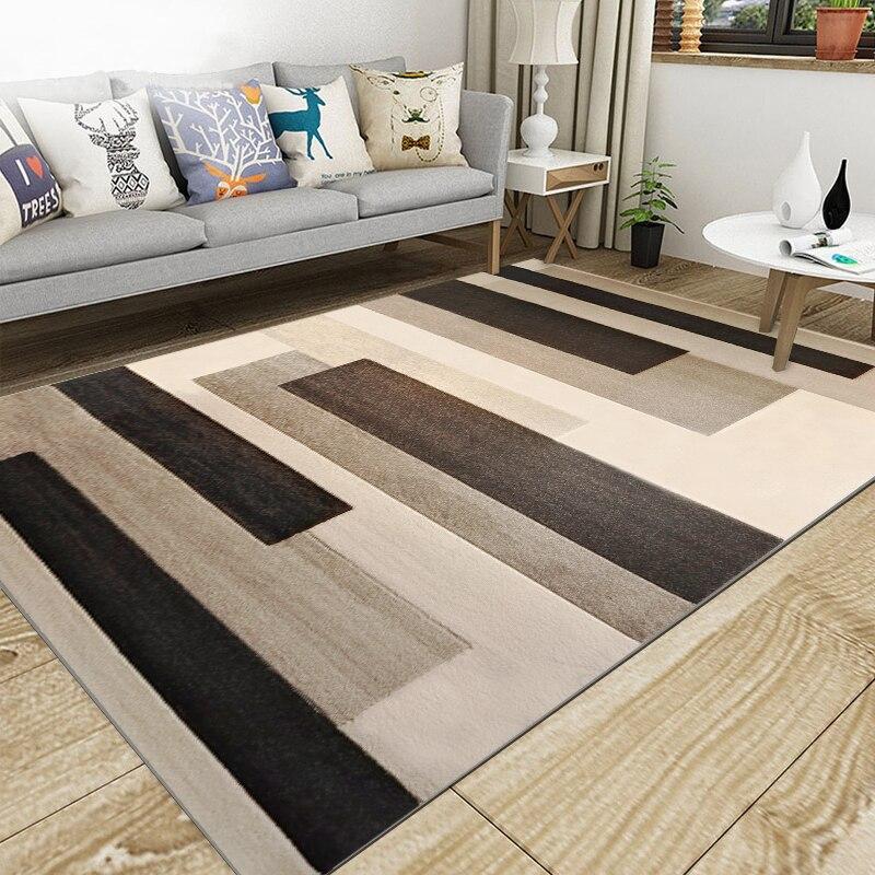 Nordique salon géométrique tapis Super flanelle Point en plastique anti-dérapant zone tapis hiver chaud épais décor chambre tapis tapis - 2