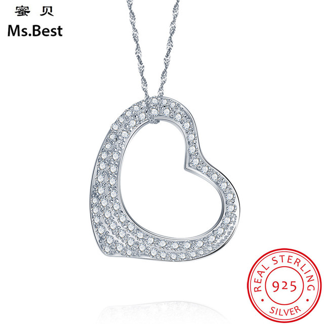 Fine solid 925 sterling silver necklace pendants women heart big fine solid 925 sterling silver necklace pendants women heart big pendant lab diamond wedding jewelry girls aloadofball Image collections