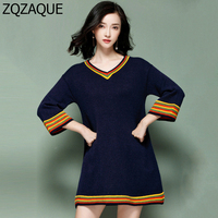 Fashion Korean Style Sexy V Neck Contrast Color Patchwork Women Knitting Dress Oversize Wrist Sleeve Fall