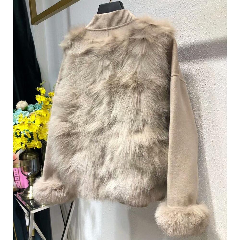 D'hiver Court Rose Laine Chaud Femme Féminins Vêtements Veste Réel Manteau Naturel Mode Fourrure 2018 De Renard H4W1OO8q