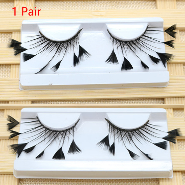 1 Pair Masquerade Stage Charming False Eyelash Art Artificial Feather Soft Makeup Party Fashion Exaggerated Tool Long Reusable 4