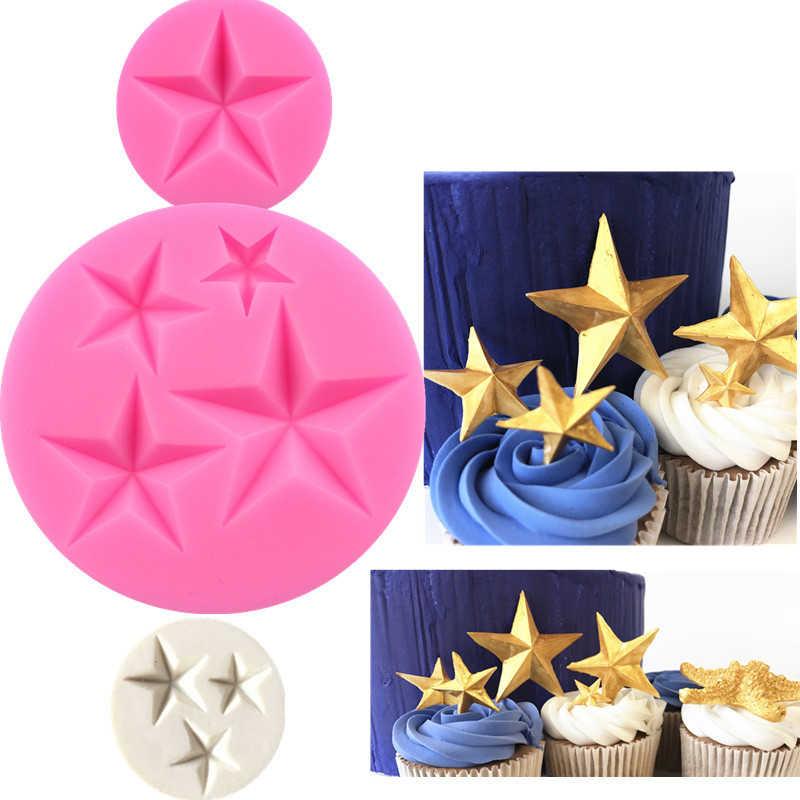 1pc 1-4 agujeros estrella flor molde de silicona para chocolate molde de pastel fabricante de dulces de hielo para hornear moldes 3D alimentos grado molde de silicona