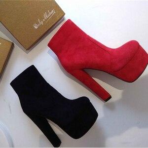 Image 3 - Onlymaker Frauen Plattform Runde Kappe Stiefeletten Stiefel Starke Absatz Schwarz Und Rot Seite Zip Damen Booties Plus Größe US5 ~ US15