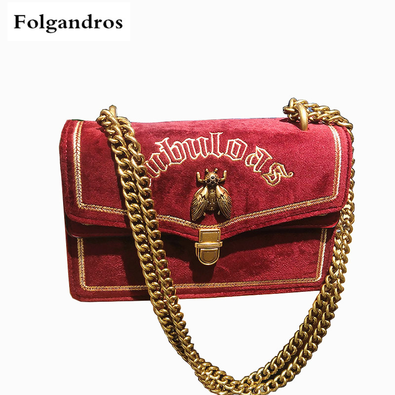 2018 Luxury Fashion Velvet Embroidered Flap Crossbody Bags Vintage Lock Chain Shoulder Messenger Bags Monederos Para Mujer Louis