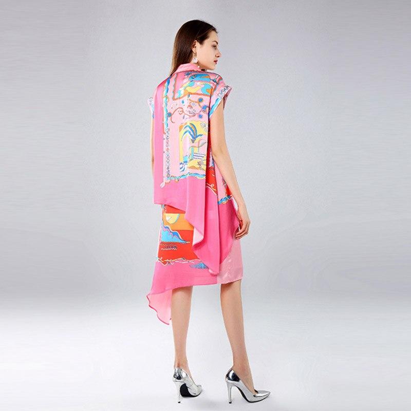 2019 Spring Summer New Amazing Light Cooked Temperament Cartoon Positioning Printing Doll Collar Irregular Shirt Long Skirt Suit
