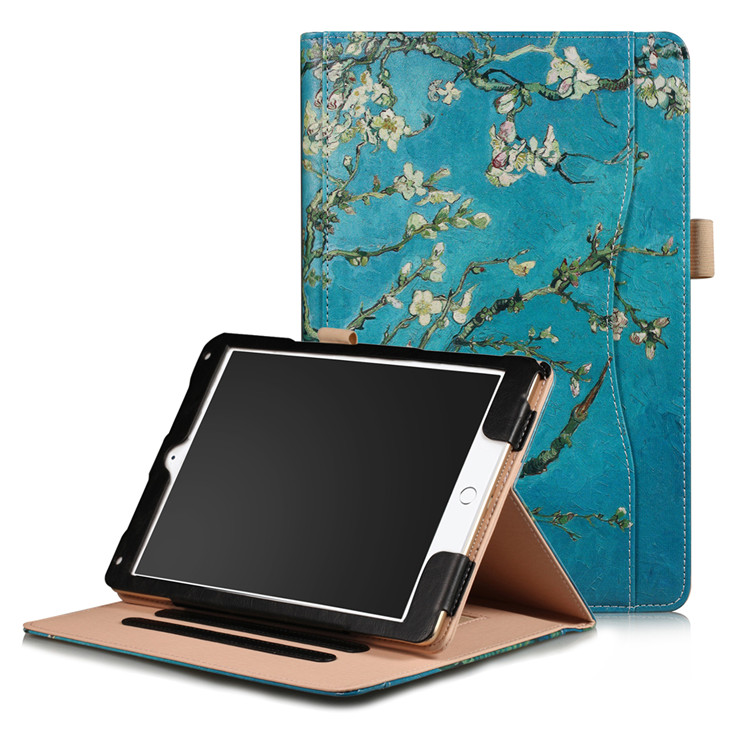Flower Wallet case with hand loop, stand and leather style for iPad 9.7 (2017, 2018, A1893), Air 1,2