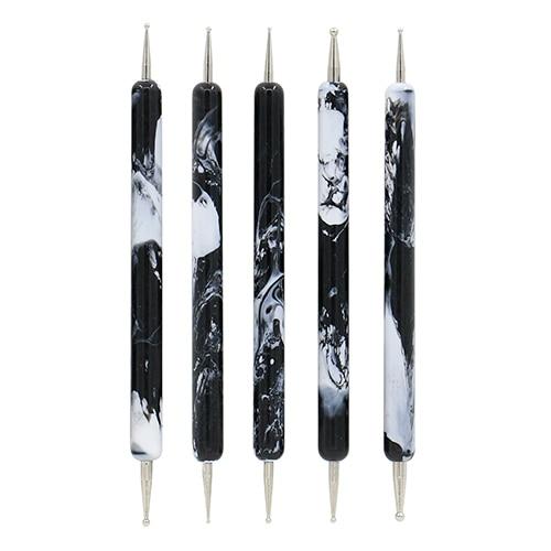 Fancy New 5pcs Black Porcelain Style Dotting Pens 2 Ways Nail Design