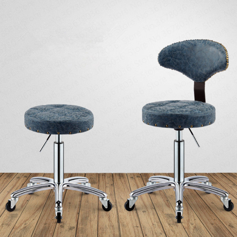 Retro Beauty Stool Lifting Rotating Back Chair Pulley Stool Master Chair Home Makeup Stool Beauty Salon Furniture