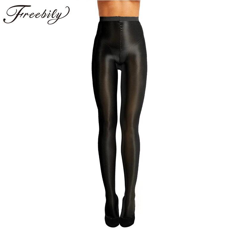 Frauen Öl Glänzenden Hohe Taille Strumpfhosen Strümpfe Kontrolle Top Ultra Sheer Shimmery Stretch 70D Dicke Volle Footed Silk Strümpfe