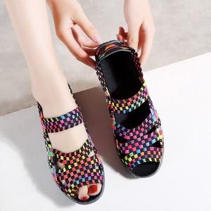 Image 4 - TKN 2019 Summer Women Flats Sandals Shoes Women Woven Flat Shoes Ladies Multi Colors Slip On ladies Sandals female loafers 812