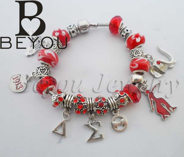 Red Bead Delta Sigma Theta Sorority Founder Lady Charm Bracelet In