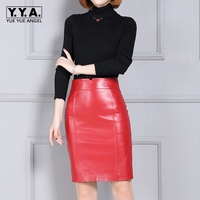 2018 New Fashion Office Lady Slim Fit Zipper Women Genuine Leather Sheepskin Skirt Female Falda Plus