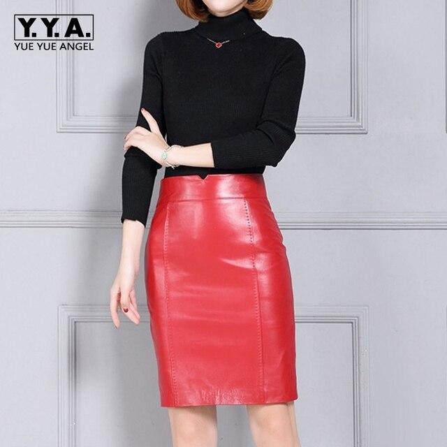 2019 New Fashion Office Lady Slim Fit Zipper Women Genuine Leather Sheepskin Skirt Female Falda Plus Size Multi Color High Waist