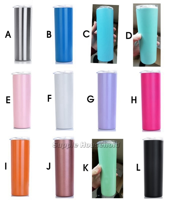 994450c6081 12 Colors 20oz Stainless Steel Skinny Tumbler with Lid and Straw Double Wall  Vacuum Insulated straight tumbler-in Mugs from Home & Garden on  Aliexpress.com ...