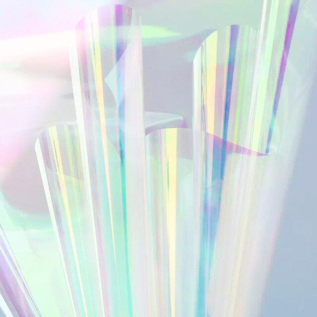 Nicrolandee 20 cali x 10 motyw kwiatowy, 0,9 metra opalizujący celofan tęczowy Film świąteczne urodziny materiały do dekoracji ślubnych