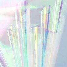 Nicrolandee 20 inch x 10 yard 꽃 포장 무지개 빛깔의 셀로판 무지개 필름 크리스마스 생일 웨딩 장식 용품