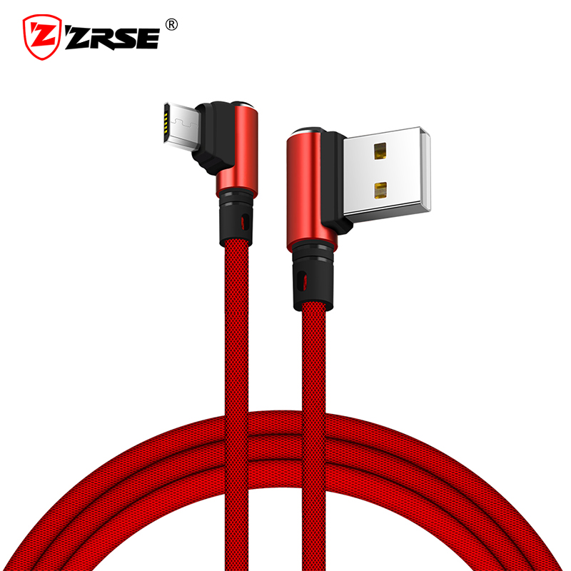 ZRSE Micro USB Cable 90 Degree 1M Data Cable Metal Braided