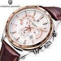 Мода Хронограф Часы Мужчины Водонепроницаемый Кожаный Классический Бренд Класса Люкс Кварцевые Часы Pagani Дизайн PS-3304
