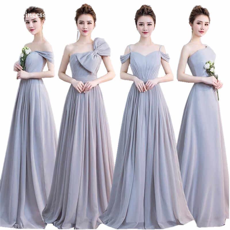 New Grey Bridesmaid Dresses 2018 Floor Length Pleat Cap Sleeve Sweetheart  Simple Elegant Prom Party Gown 383c02dde497