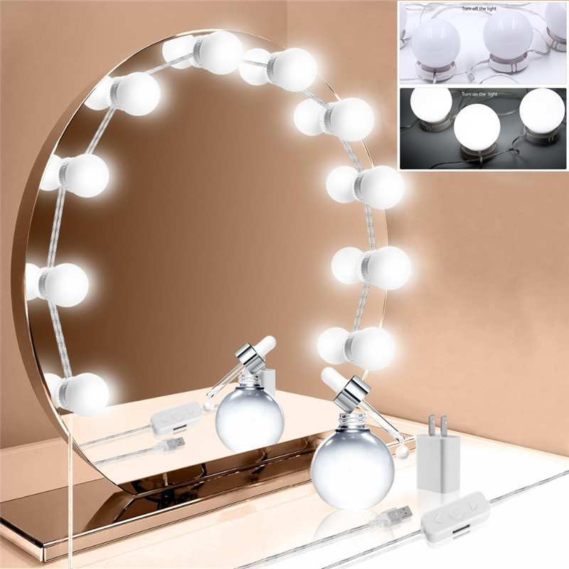 Led Indoor Wall Lamps Led Vanity Dressing Table Light Hollywood Style Makeup Mirror Lamp Usb Led Cosmetic Bulb Diy Stepless Dimmable Led Wall Lamp 12v High Quality And Inexpensive Lights & Lighting