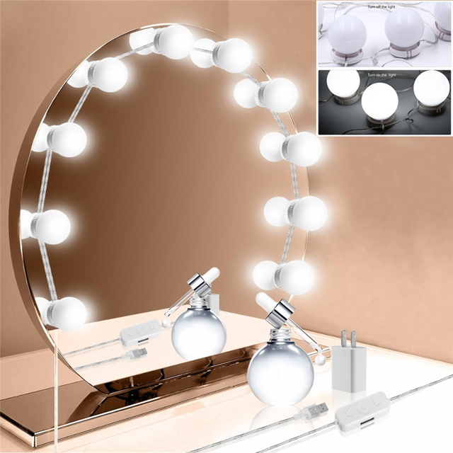 Upgraded Makeup Mirror LED Lights Hollywood Style Vanity Lights 10 Dimmable  LED Bulbs For Dressing Table Bathroom Wall Lamp Usb
