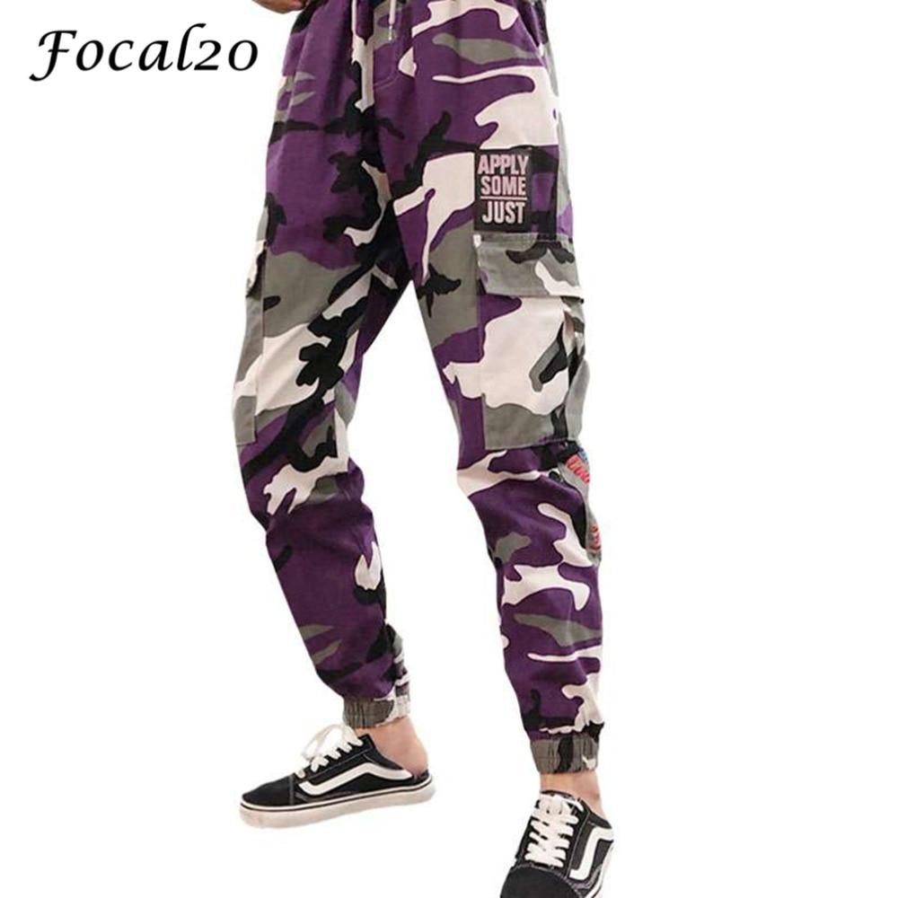 Focal20 Streetwear Letter Print Camouflage Women Pants Elastic Waist Pocket Pants Full Length Loose Pants Trousers 1