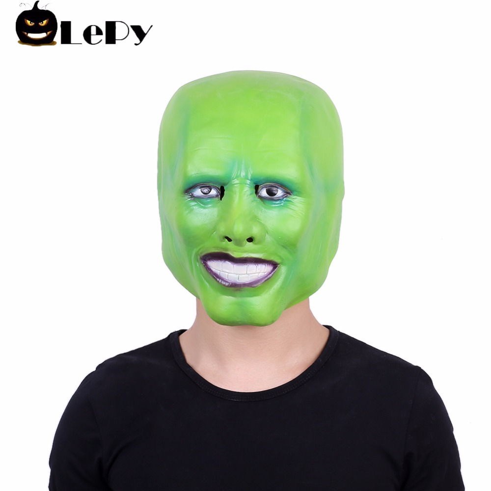 LePy Halloween Mask Jim Carrey Cosplay Green Mask Costume Adult Fancy Dress Face Halloween Masquerade Party Cosplay Movies image