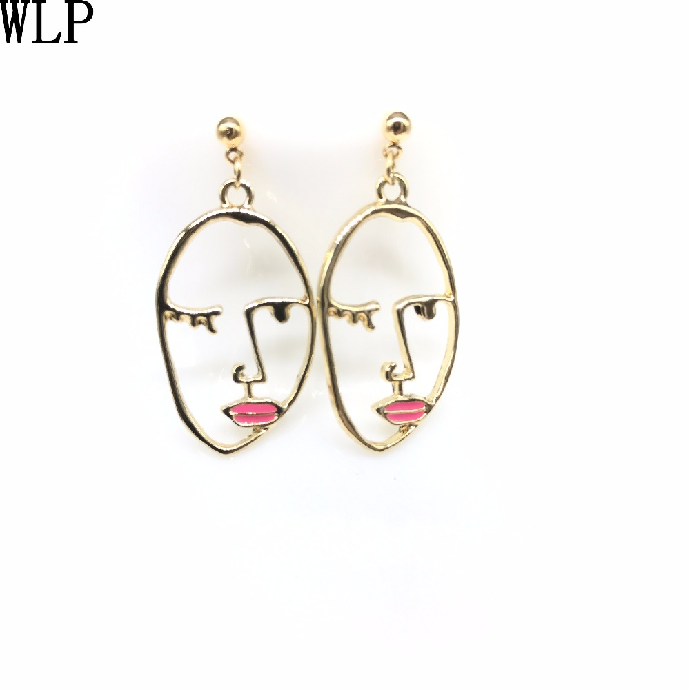 WLP jewelry Exaggerated Personality Metal Texture Face Earrings Fashion Facial Contour Silhouette Earrings for women gold color