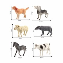 Simulation Horse Wolf Cow Sheep Dog Decorate Farm Wild Animals Models figures figurines toys plastic collection toys For Kids