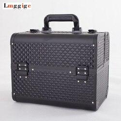 Tragbare Kosmetische Fall, frauen Make-Up Koffer, Schönheit kit Tasche, große-kapazität Tragen-auf Toilettenartikel Box, Make-up werkzeug handtasche