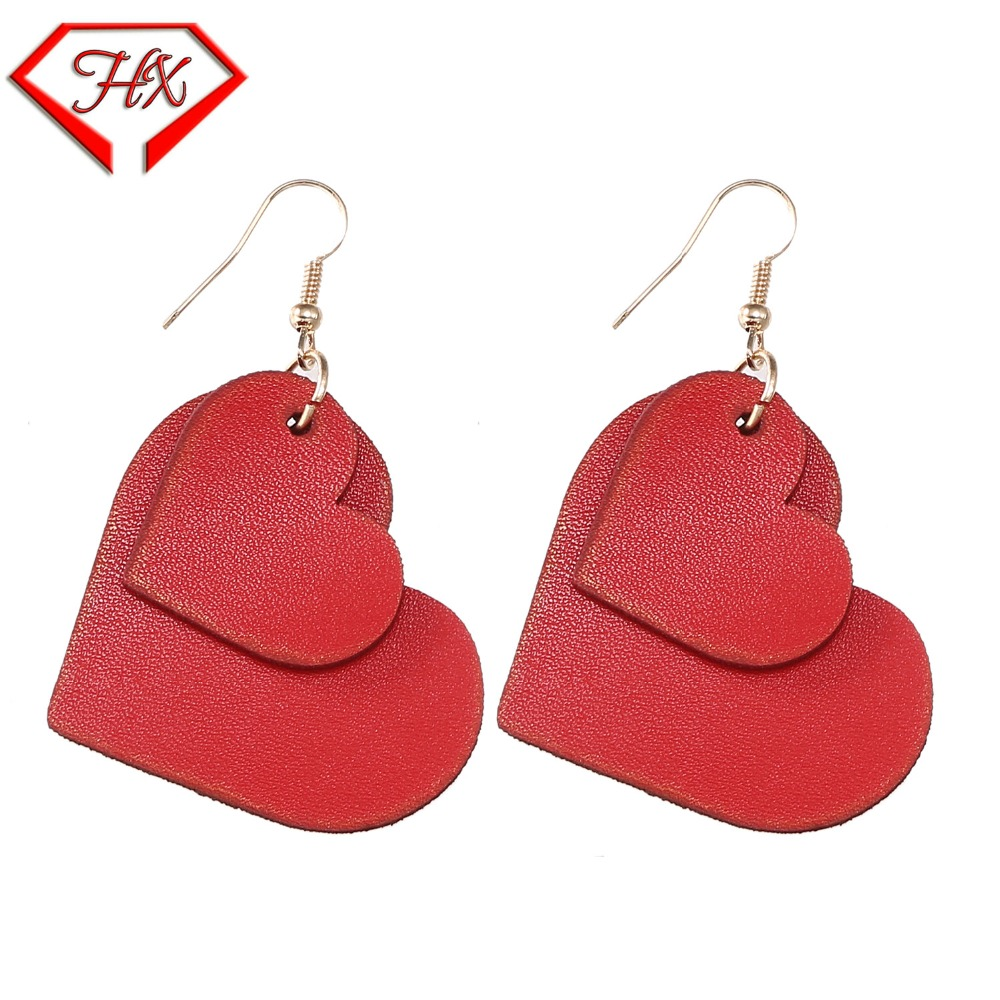 2018 new peach leather earrings fashion trend leather earrings earrings Europe and the United States temperament generous cortic