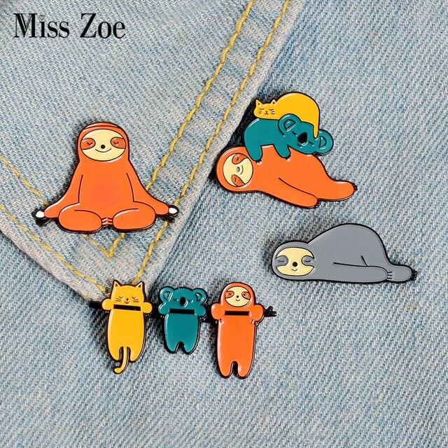US $0 77 30% OFF|Aliexpress com : Buy Cute Funny Sloth Enamel Pin Lazy  Animal Koala Cat Badge Brooch Lapel Pins Denim Jeans Shirt Bag Cartoon  Jewelry