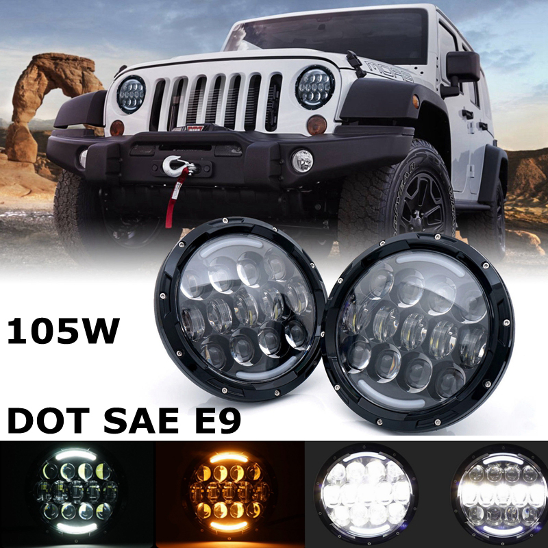 105W 7 Inch <font><b>LED</b></font> car styling Headlight For Land Rover Defender 90 110 White/amber Turn Signal DRL for Jeep Wrangler Jk <font><b>Tj</b></font> Hummer