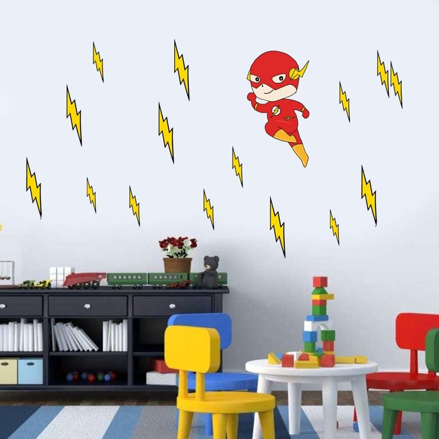 cartoon flash superhero wall art for kid nursery bedroom vinyl