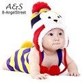 New Bonito Quente Tampão Do Inverno Chapéus de Animais Para O Bebê Earflaps Velvet Espessamento Crochet Malha Boy Girl Beanie Hat Crianças