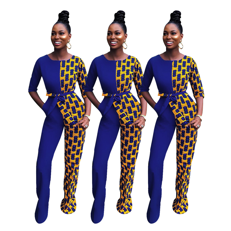Women Jumpsuits 2019 Autumn African Printed Stitching Fashion Half Sleeve Casual Wide Leg Pants With Belt Sexy Jumpsuirt Overall
