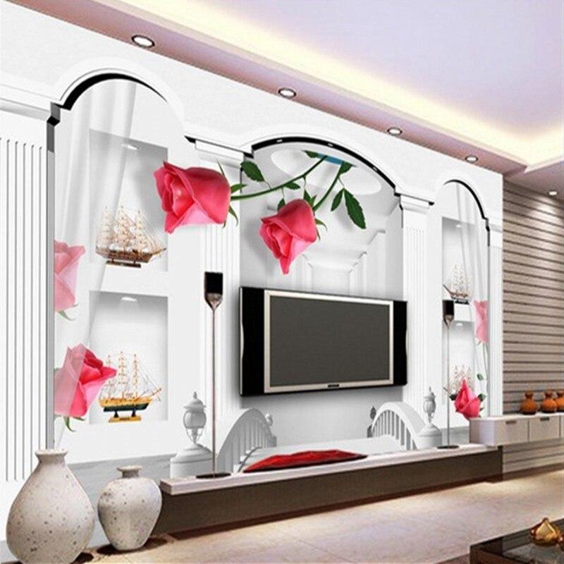 beibehang groe wandbilder vlies 3d perspektive rmischen rose tapete schlafzimmer gemtliches wohnzimmer tv hintergrundchina