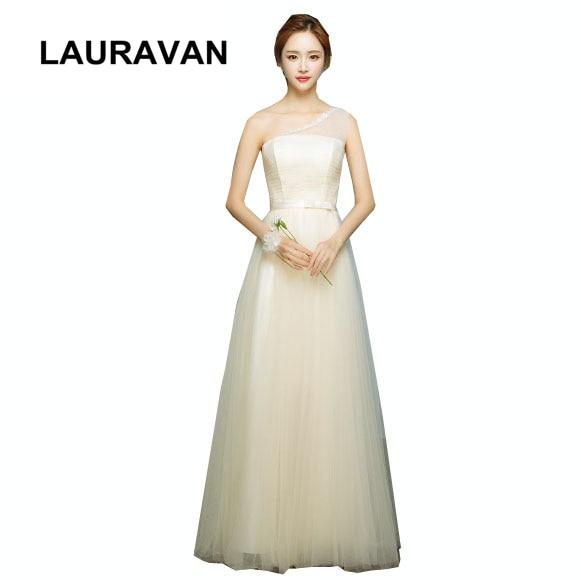bride one shoulder champagne elegant girls lace top bride dress 2020 classy embellished bridesmaid dresses women long gowns