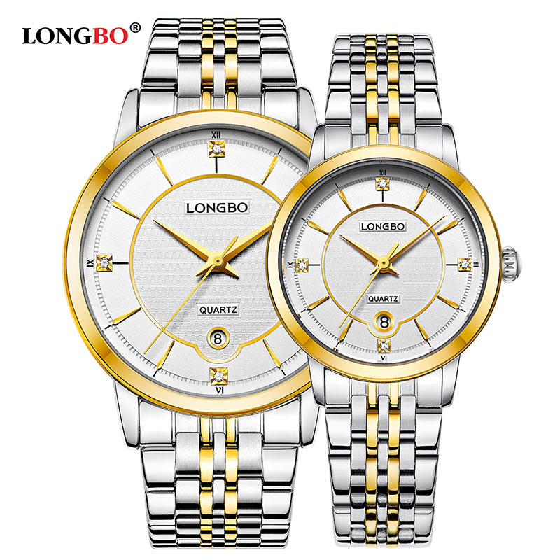 LONGBO 2020 NEW Brand Fashion Business Stainless Steel Quartz Watches Date Calendar Wristwatches Analog Couples Watches 5023