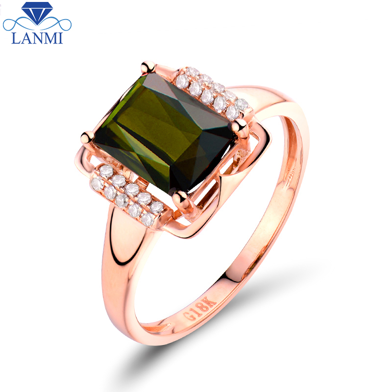 Luxury 18K Rose Gold Green Tourmaline Ring Natural Diamond Fine Jewelry For Women's Rings Good Quality Gemstone