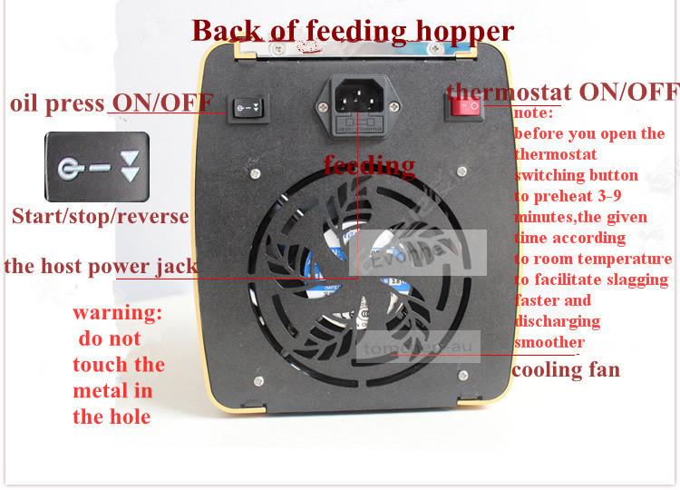 Back of feeding hopper
