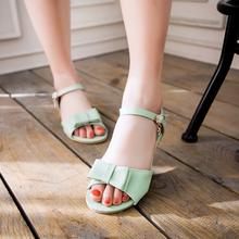 New Summer Lady Strappy Sandals Platform Block Heel White Pink Mint Green Women Gladiator Flats Girls
