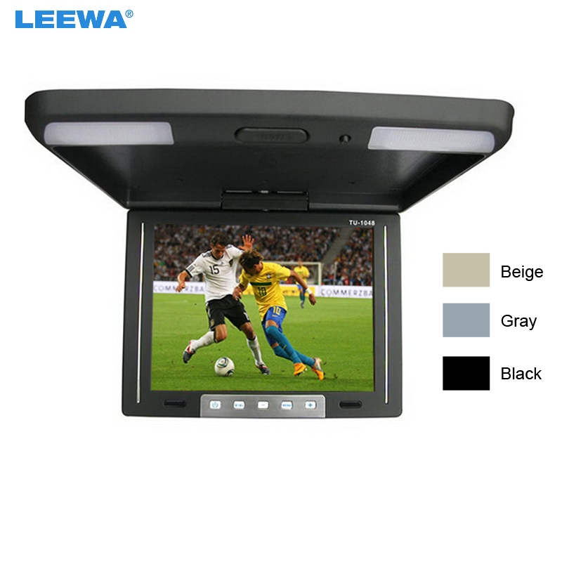 LEEWA Black, Grey, Beige 10.4 Inch Roof Mounted TFT LCD Monitor 2-Way Video Input Flip Down Car Monitor For Choice #CA1283 9 inch flip down tft lcd monitor 12v car monitor beige car roof mounted monitor car ceiling monitor with 2 video input