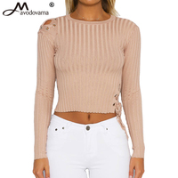 Avodovama M Women Fashion Sexy Long Sleeve Short Slim Blouse Knitted Solid Short Criss Cross Hole