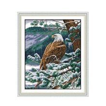 Winter snow on the beautiful snow cross stitch kit, Eagle se