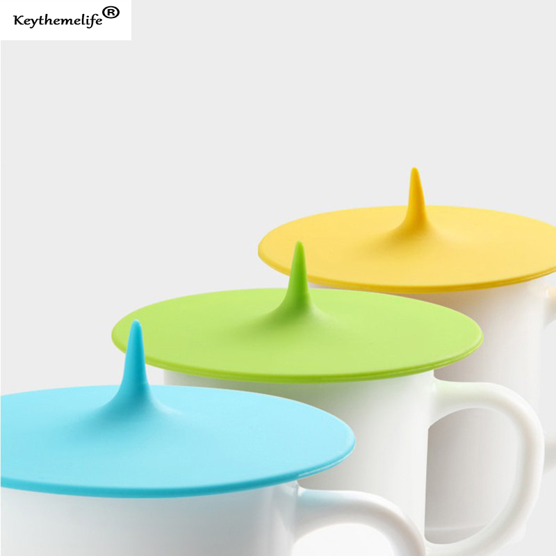 1pc Creative Silicone Leakproof Airtight Sealed Glass Cup Cover Coffee Mug Suction Seal Lid Cap Cover Candy Color B